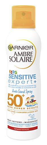 Garnier Ambre Solaire Kids Anti-Sand LSF 50+, Sonnenspray für Strand, Wasserfeste Sonnencreme, Sonnenschutz für Kinder, 200 ml