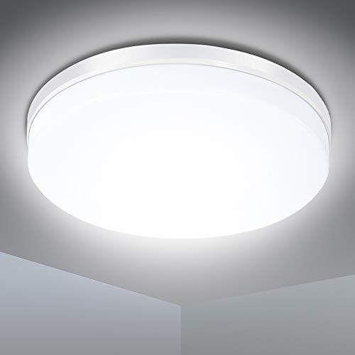 LED Deckenleuchte, SOLMORE 24W LED Deckenlampe IP54 Wasserfest Badlampe, 5000K Kaltweiß, 2200LM Lampen ideal für Badezimmer Schlafzimmer Balkon Küche und Wohnzimmer, Ø23.5cm