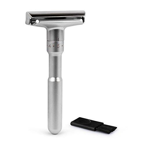 QSHAVE Verstellbarer Klassischer Rasierhobel, Herren Safety Rasiermesser, Scharfer Nassrasierer für Männer