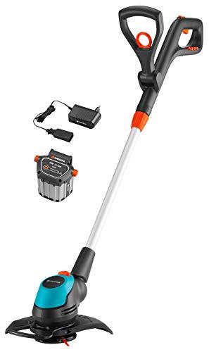 GARDENA Akku-Trimmer EasyCut Li-18/23 Ready-To-Use Set: Rasentrimmer mit 230 mm Schnittkreis, verstellbarer Griff, Pflanzenschutzbügel und Stielneigungsverstellung, inkl. 18 V Li-Ion Akku (9876-20)