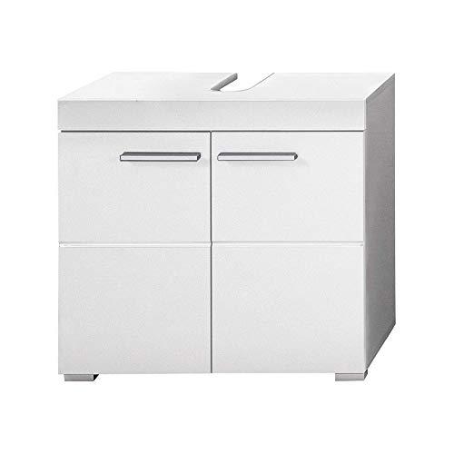 trendteam smart living Badezimmer Waschbeckenunterschrank Unterschrank Amanda, 60 x 56 x 34 cm in Weiß / Weich Hochglanz mit viel Stauraum