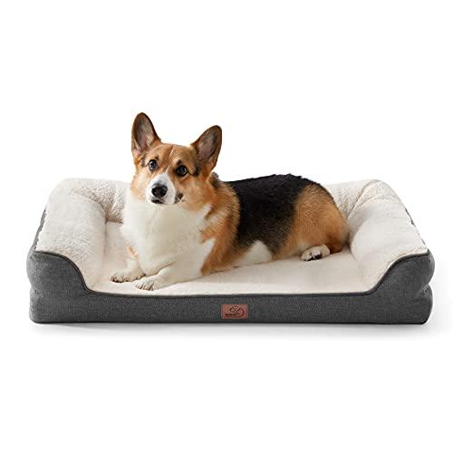 Bedsure orthopädische Hundebett große Hunde - Hundesofa mit Memory Foam, kuschelig Schlafplatz in Größe 71x58 cm, waschbare Hundesofa, grau