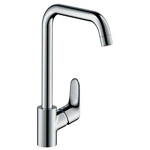 hansgrohe Focus Küchenarmatur (Wasserhahn Küche ohne Schlauchbox, 110°, 150°, 360° schwenkbar, hoher Auslauf 260mm) Chrom