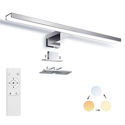 LED Spiegelleuchte Dimmbar, SOLMORE 12W 1200LM Neutralweiß/Warmweiss/Weißlicht Badezimmer Badleuchte Spiegellampe mit Fernbedienung, IP44 Wasserdichte Badlampe 40CM 220V
