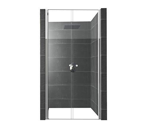 DURASHOWER Duschtür aus ESG Glas 1950 mm x 850 mm – 880 mm x 6 mm nanobeschichtet Duschwand Dusche Tür Duschkabine