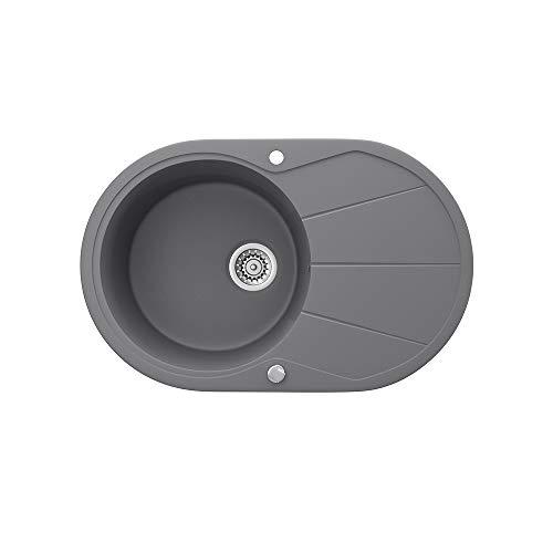 Bergström Granitspüle 780x500mm inkl. Siphon Küchenspüle Einbauspüle reversibel (Grau)