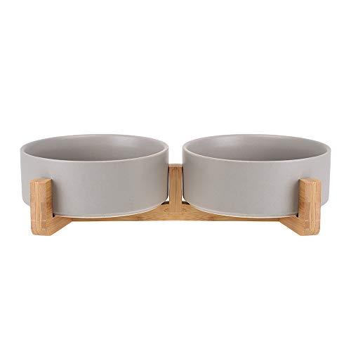 HCHLQLZ Grau Keramik Hundenapf Futternapf Fressnapf Napf für Hund Katzen mit Massivholz Ständer (2 Stück)
