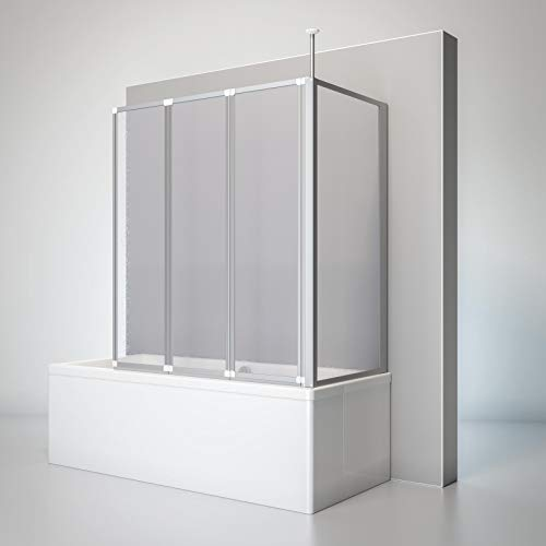 Schulte D160370 01 01 Duschwand Well mit Seitenwand, 129 x 140 x 70 cm, 3-teilig faltbar, Kunstglas Tropfen-Dekor, alunatur, Duschabtrennung für Wanne