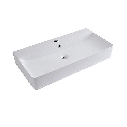 Hudson Reed Aufsatz- & Hängewaschbecken 800mm Breite Exton - Moderne Waschschale aus Keramik in Weiß Rechteckig - Waschbecken Waschtisch