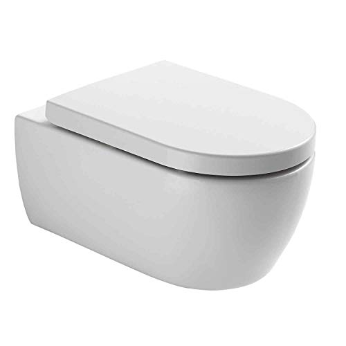 NEG Hänge-WC Uno11RL (Tiefspüler/randlos) Toilette ohne Unterspülrand mit Duroplast Soft-Close-Deckel und Nano-Beschichtung
