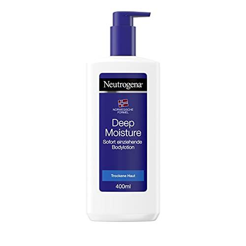 Neutrogena Deep Moisture Sofort einziehende Bodylotion, Norwegische Formel, Körpercreme, Trockene Haut, 400 ml