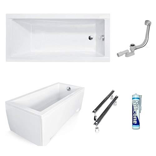 ECOLAM Badewanne Wanne Rechteck Modern Design Acryl weiß 170x70 cm + Schürze Ablaufgarnitur Ab- und Überlauf Automatik Füße Silikon Komplett-Set
