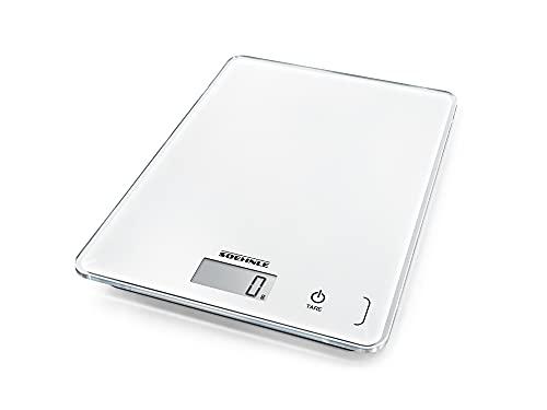 Soehnle Page Compact 300 weiß, digitale Küchenwaage bis zu 5 kg Tragkraft, Küchenwaage mit leicht ablesbarer LCD-Anzeige, Digitalwaage mit Zuwiegefunktion