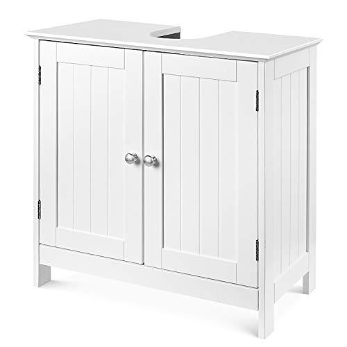 Homfa Waschbeckenunterschrank Unterschrank Waschtischunterschrank Weiß Holz 60x60x30cm