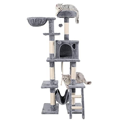 AOKCATS Kratzbaum Groß Katzenbaum, Kratzbaum Grosse Katzen Stabil, Katzenkratzbaum 155cm für 2 große Katzen Kitten, Cat Tree Aktivitätskratzbäume mit Hängematte & vielen Spielmöglichkeiten Hellgrau