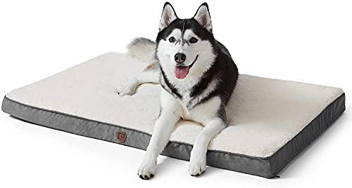 EHEYCIGA Hundebett Hundekissen mittelgroße Hunde L 88x58x7cm Dog Bed waschbar grau Hundematratze eierförmig flauschig orthopädisch, Grosse, kleine Hunde Dicke Füllung Schaum kuschelige Hundematte