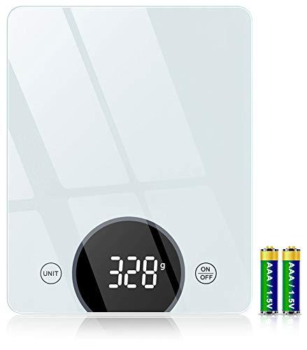 Cocoda Küchenwaage Digital, 10 kg Gehärtetes Glas Waage Küchenwaage mit 2,95 Zoll LED Display und Genauigkeit bis zu 1 g, Elektronische Waage mit Tara-Funktion für Kochen Backen, 2 Batterien Inklusiv