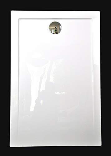 Superflache Duschtasse Duschwanne 100x80 120x80 120x90 140x80 140x90 100x100 Komplett Set flach Rechteckig kratz und rutschfest Hochglanz Weiß Höhe 3,5 cm inkl. Ablaufgarnitur, Größe: 120x90