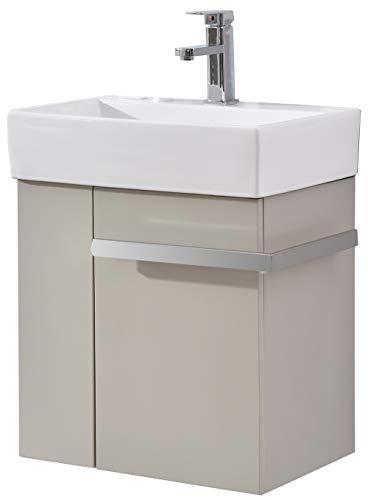 Badmöbel-Set Compact 500 für Gäste-WC - Taupe hell matt, Ablaufgarnitur/Pop-up:Mit Ablaufgarnitur