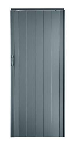 Falttür Schiebetür Tür grau farben Höhe 202 cm Einbaubreite bis 85 cm Doppelwandprofil Neu
