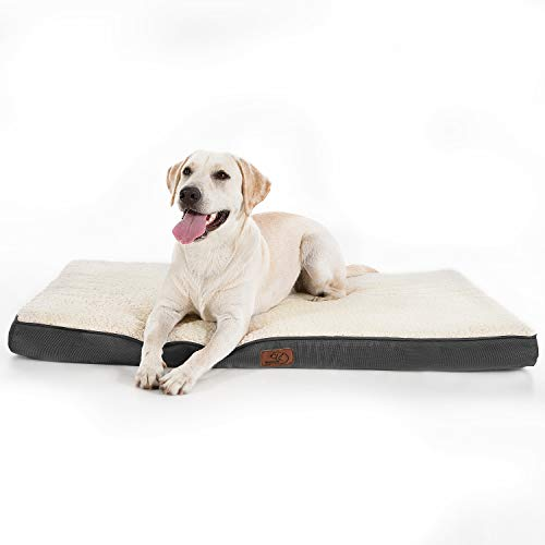Bedsure Hundekissen L/Hundematratze für kleine mittlere große Hunde, eierförmiger Kistenschaum orthopädische Hundebett kuschelig bequem Schlafplatz, 90x70 cm, waschbar Höhe in 8 cm