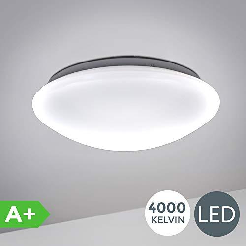 B.K.Licht I 12W LED Bad- Deckenlampe I 4.000K Neutralweiß I 1.200 Lumen I Ø29cm I IP44 Spritzwasserschutz I Badezimmerlampe gewölbt I LED Deckenleuchte