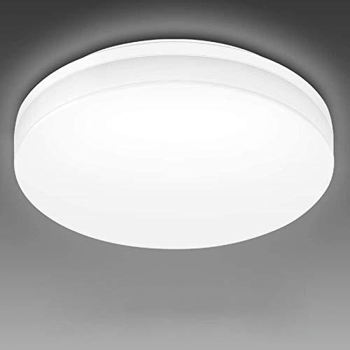LE Deckenlampe 15W, LED Deckenleuchte IP54 Wasserfest, 3000K 1500LM Badezimmer Lampe, Rund Badlampe Decke, ideal für Bad Schlafzimmer Flur Küche Wohnzimmer Balkon, Kaltweiß, Ø22cm