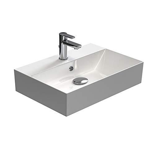 Aqua Bagno | Design Waschbecken Hängewaschbecken Aufsatzwaschbecken Waschtisch aus hochwertiger Keramik eckig KS.60 | 60 x 42 cm | Weiß