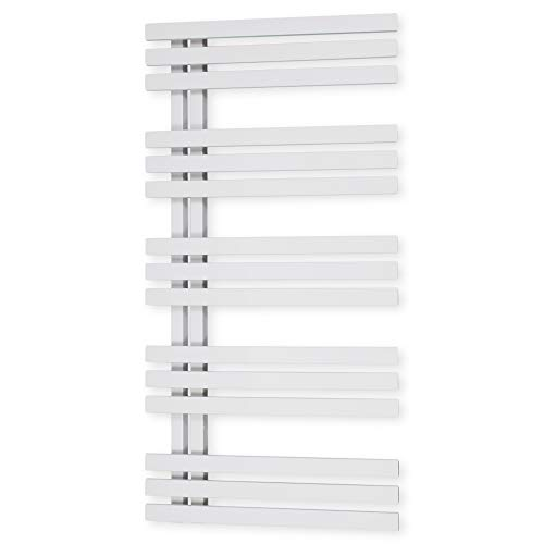 Design Badheizkörper Paneel mit Anschluss links oder rechts | Heizkörper mit versetztem Mittelanschluss (1400 x 500, Weiß) (467 Watt nach EN442)