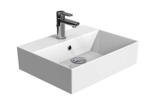Aqua Bagno   Design Waschbecken Hängewaschbecken Aufsatzwaschbecken Waschtisch aus hochwertiger Keramik eckig KS.50   50 x 42 cm   Weiß
