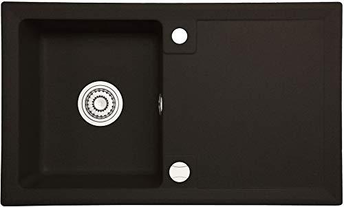 LINDBERGH Granitspüle'FAV11' Schwarz Einbauspüle Küchenspüle Spüle Spülbecken + DREHEXCENTER - Verbundstoffe MADE IN GERMANY