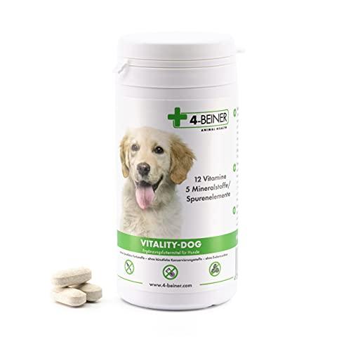 4-BEINER Vitality-Dog, 12 Multi Vitamine für Hunde, Vitamin B Komplex, Vitamin A, C, E, D, Folsäure, Biotin, Mineralstoffe Zink, Eisen, Mangan, ideal beim BARFEN, 100 Tabletten