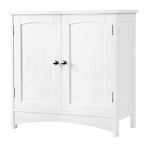 VASAGLE Waschbeckenunterschrank, Unterschrank, Waschtischunterschrank, Badezimmerschrank mit 2 Türen, verstellbare Ablage, viel Stauraum, freistehend, Landhausstil, 60 x 30 x 60 cm, Weiß BBC01WT