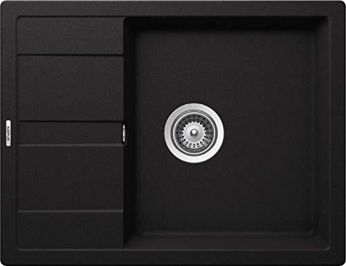 SCHOCK kompakte Küchenspüle 65 x 50 cm Manhattan D-100 Nero - CRISTALITE schwarze Granitspüle mit verkürzter Abtropffläche ab 50 cm Unterschrank-Breite