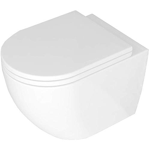 VBChome Hänge-WC Spülrandloses aus Keramik mit Toilettendeckel WC-Sitz aus Duroplast Absenkautomatik Rimless SoftClose-Funktion Tiefspüler Toilette Wand WC Wand-WC-Set