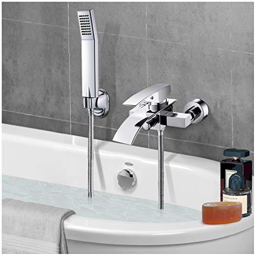 Bad Mischbatterie Badewanne, VENTCY Badarmatur Badewanne Chrom, Armatur Badewanne H59 Messing Badewannenarmatur Wasserfall mit Handbrause, Handbrausehalter, Brauseschlauch und Befestigungsmaterial