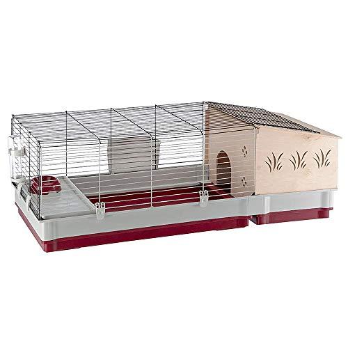 Ferplast 57072570 Nagerheim für Kaninchen und andere Kleintiere, Maße: 142 x 60 x 50 cm, krolik