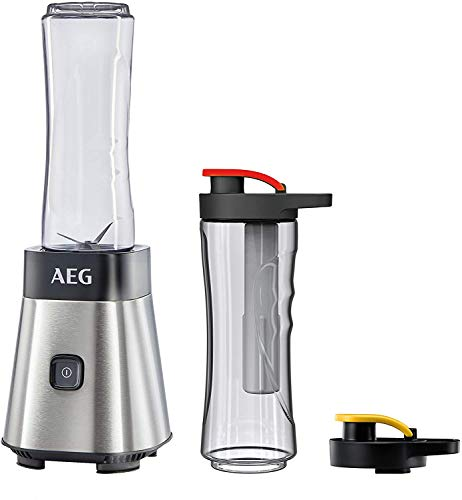 AEG MiniMixer SB 2700 Standmixer (0,4 PS-Power-Motor, 23.000 U/Min, 2 spülmaschinen- und bruchfeste 600 ml Tritan-Flaschen, Kühlakku, 4-Klingen Messer, Pulse-Taste, gebürstetes Edelstahl)