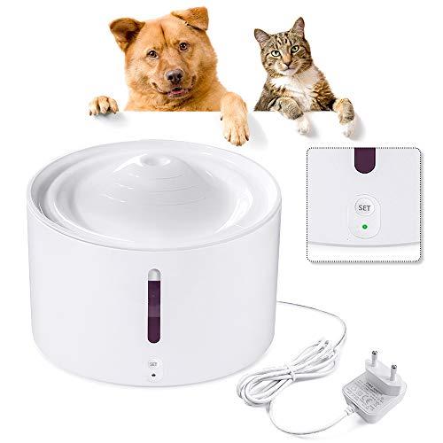 Aufun Katzen Trinkbrunnen, Katzenbrunnen Organischer Filter rutschfest Leise 2L Smart Haustier Wasserbrunne für Hunde und Katzen - 18W Intelligente Wassertemperatur