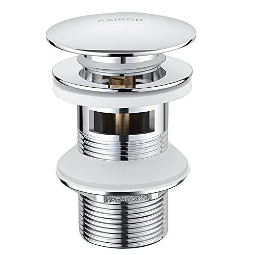 KAIBOR Universal Ablaufgarnitur für Waschbecken und Waschschalen mit Überlauf, Chrom POP UP Ventil mit Überlaufschutz, Passgenaues Ablaufventil aus Messing, 1 1/4 Zoll Gewindeanschluss