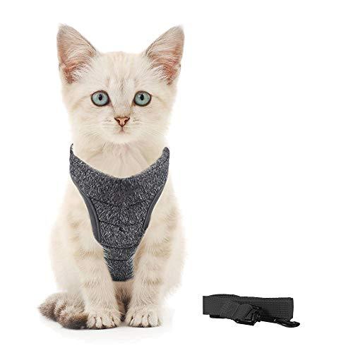 Generic Brands Katzengeschirr mit Leine Ultraleichtes Kitten Collar Coft und bequemes Brustgeschirr für Kätzchen und Kaninchen (S, Grau)