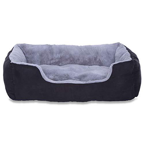 dibea Hundebett Hundekissen Hundekörbchen mit Wendekissen Größe M Farbe grau/schwarz