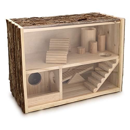 Navaris Hamsterhaus zweistöckig aus Holz - 39 x 20 x 27,5cm - Stall für Mäuse Degu Ratten Rennmaus - Hamster Labyrinth Haus Spielzeug