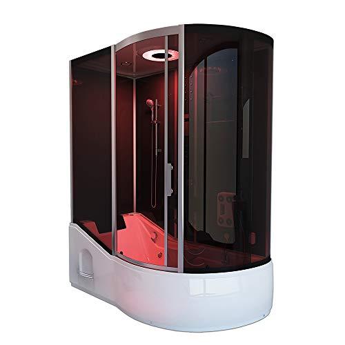 Home Deluxe - Duschtempel mit Regendusche und Handbrause - All IN 4in1 schwarz Rechts - Maße: 170 x 90 x 220 cm | Dampfsauna, Badewanne, Whirlpool, Dusche