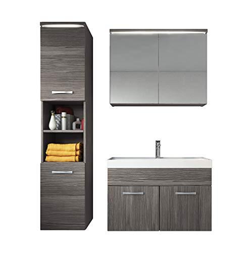 Badezimmer Badmöbel Set Paso LED 80 cm Waschbecken Bodega (Grau) - Unterschrank Hochschrank Waschbecken Spiegelschrank