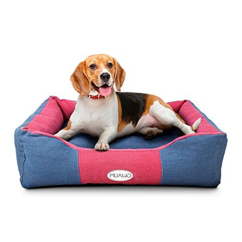 Muawo Premium Hundebett für kleine Hunde. Geschenke für Hundebesitzer, Hundeliebhaber und Hundehalter. Rutschfestes Hundekörbchen, robust und gemütlich (S 60 x 45 x 18, Blau/Rot)