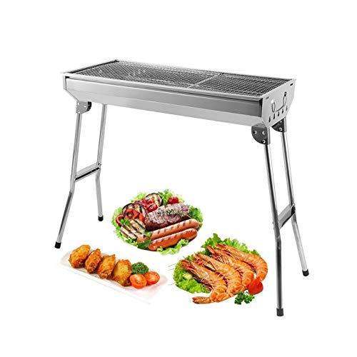 AGM Holzkohlegrill, 680 x 320 x 730 mm   Großer Grill, faltbar für 5 ~ 10 Personen   dicker Edelstahl   für Picknick, Reisen, Garten, Camping