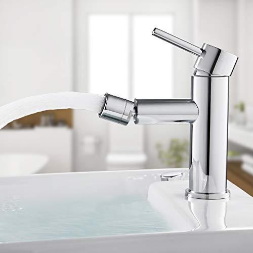 BONADE Bidetarmatur Wasserhahn Einhebel-Bidetmischer 360° drehbare Badarmatur, Komfort-Höhe 67 mm, Waschtischarmatur Messing Mischbatterie für WC, Bidet, chrom