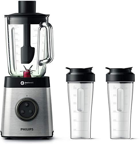 Philips HR3655/00 Standmixer (1400 Watt, ProBlend 6 3D Technologie, 2 Liter Glasbehälter, 2x Trinkbecher, Spülmaschinenfest) edelstahl