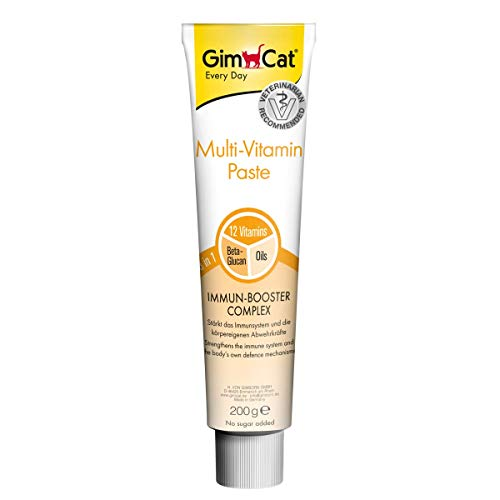 GimCat Multi-Vitamin Paste, Nährstoffreicher Katzensnack mit Immun-Booster Complex für ein starkes Immunsystem, Enthält Beta-Glucan und hochwertige Öle, 1 Tube (1 x 200 g)